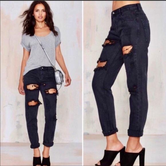 One Teaspoon Trashed Freebirds Jeans in Fox Black
